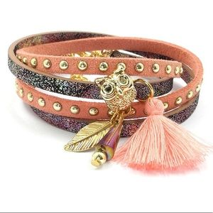 Jewelry - BOGO SALE Gray Pink Wrap Bracelet Sparkle